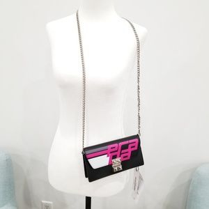 Prada City Wallet On A Chain Nero/ Fuxia Leather